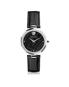 Idyia Decagonal Black and Silver Women's Watch w/Greek Engraving - Versace
