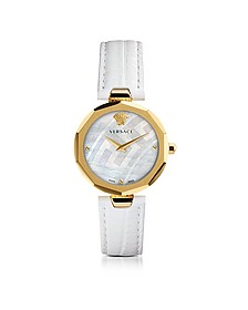 Idyia Decagonal White Women's Watch w/Greek Engraving - Versace