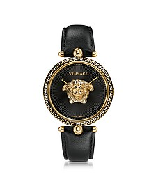 Palazzo Empire Black and PVD Plated Gold Women's Watch w/3D Medusa - Versace