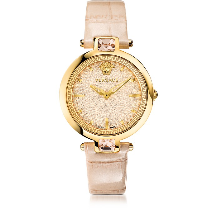 Crystal Gleam Ivory Women's Watch w/Guilloché Dial and Croco Embossed Band - Versace