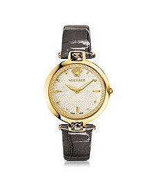 Crystal Gleam Grey Women's Watch w/White Guilloché Dial and Croco Embossed Band - Versace