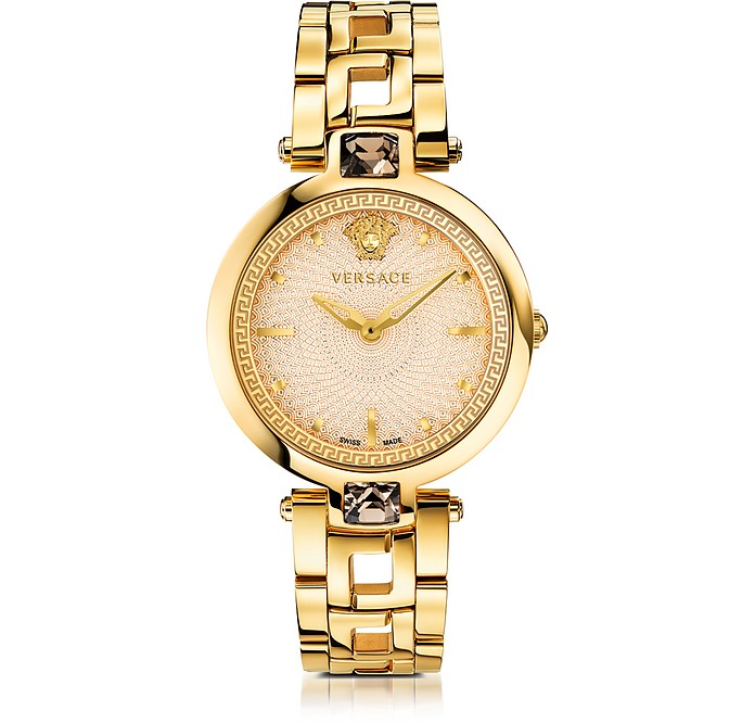 Crystal Gleam Gold Women's Watch w/Ivory Guilloché Dial - Versace