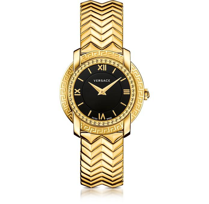 DV25 Round Gold Women's Watch w/Black Dial - Versace