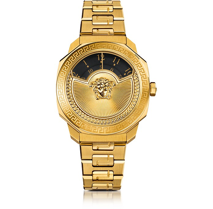 Dylos Icon Gold IP Stainless Steel Unisex Watch w/Black Discs and Medusa - Versace