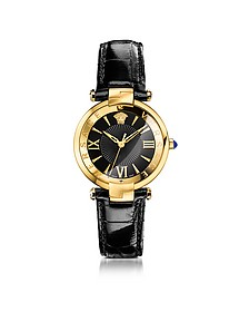 Revive 3H Black and PVD Gold Plated Women's Watch w/Croco Embssed Band - Versace