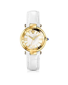 Revive 3H White and PVD Gold Plated Women's Watch w/Croco Embossed Band - Versace