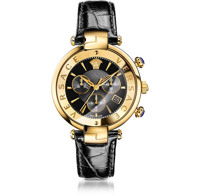 Revive Chrono Black and PVD Gold Plated Women's Watch w/Croco Embossed Band - Versace