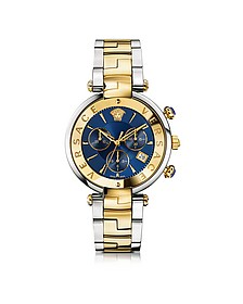 Revive Chrono Stainless Steel and PVD Gold Plated Women's Watch w/Blue Dial - Versace