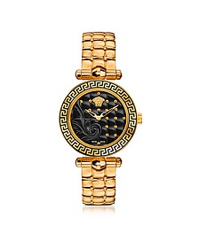Micro Vanitas PVD Gold Plated Women's Watch w/Baroque Black Dial - Versace