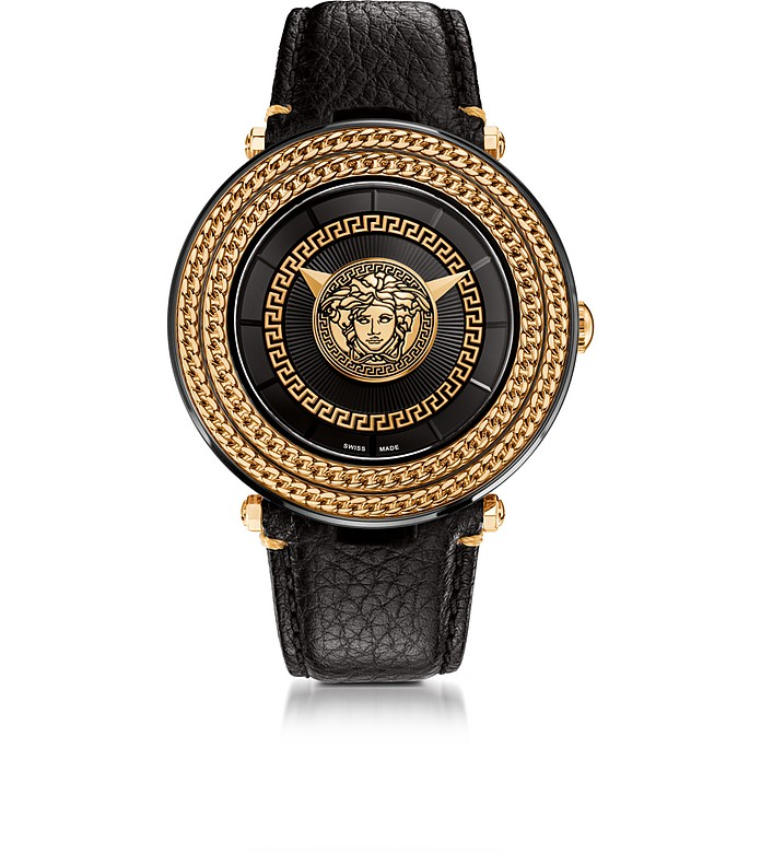 9aa097e011 Versace V-Metal Icon Black and Rose Gold Unisex Watch w/Medusa Medal ...
