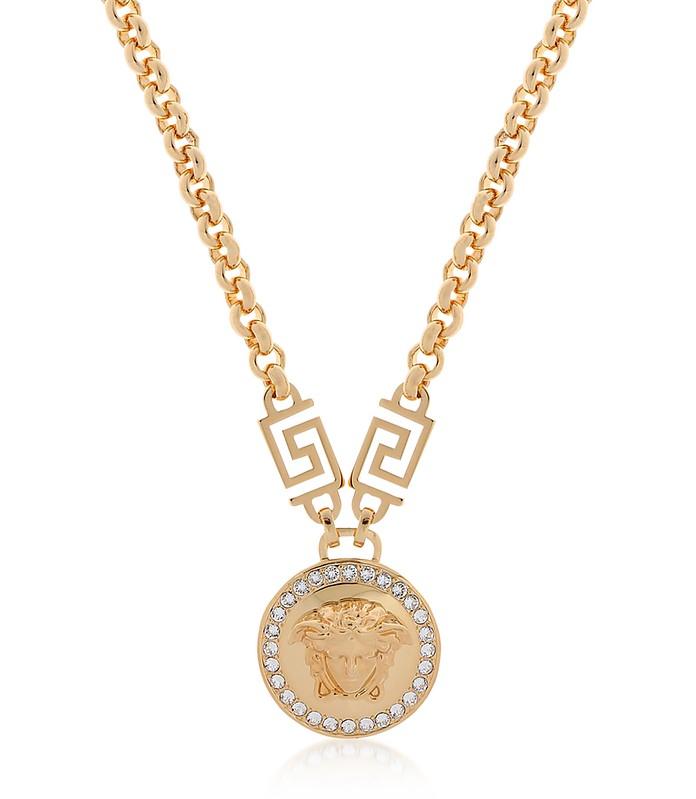 Versace gold metal medusa pendant necklace wwhite gold metal medusa pendant necklace wwhite crystals versace mozeypictures Gallery
