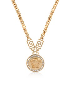 Gold Metal Medusa Pendant Necklace w/White Crystals - Versace