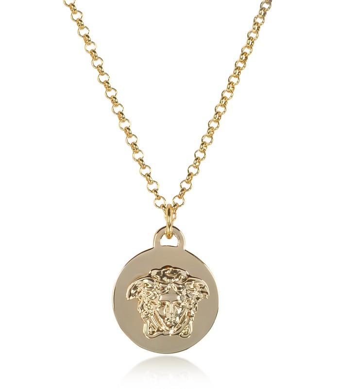 Versace light gold metal medusa pendant necklace at forzieri light gold metal medusa pendant necklace versace aloadofball Images