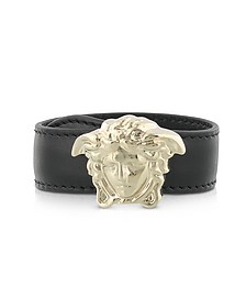 Black Leather Bracelet w/Light Gold Metal Medusa - Versace