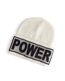 Power Manifesto Cappello in Lana a Coste Bianco Latte - Versace