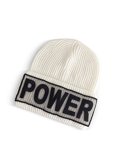 Power Manifesto White Wool Knit Hat - Versace