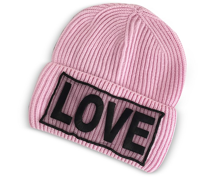 Love Manifesto Pink Wool Knit Hat - Versace