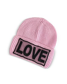 Love Manifesto Cappello in Lana a Coste Rosa Candy - Versace