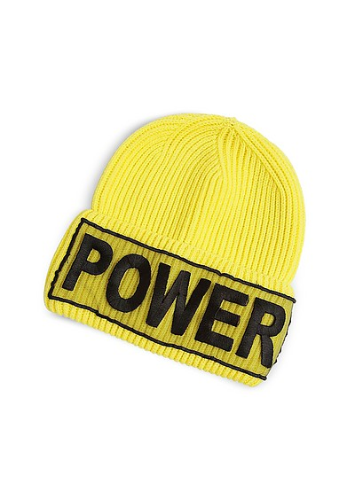 Power Manifesto Bright Yellow Wool Knit Hat - Versace