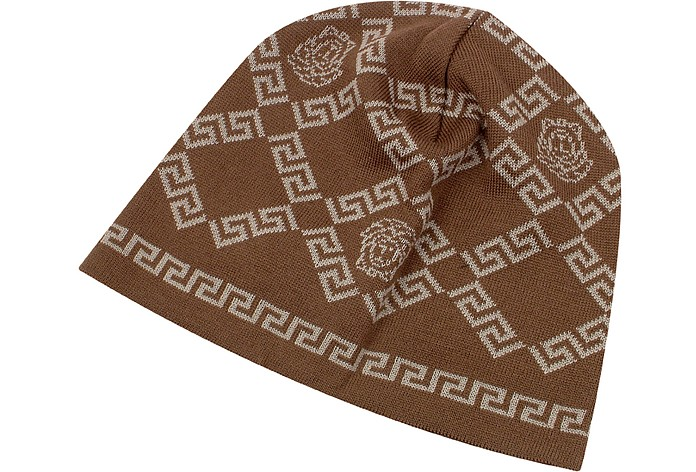 967bf69684 Versace Brown Greca and Medusa Logo Wool Skull Cap at FORZIERI Canada