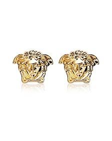Gold Metal Medusa Stud Earrings - Versace