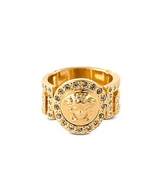 Gold Metal Icon Medusa Ring w/White Crystals - Versace