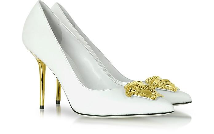 Medusa White Leather Stiletto Heel Pump - Versace