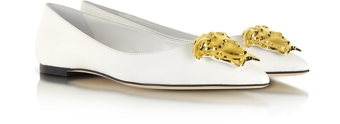 Medusa White Calf Leather Ballerina - Versace