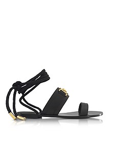 Black Leather Ankle Wrap Sandals - Versace