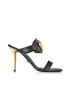 Medusa Black Leather Sandal