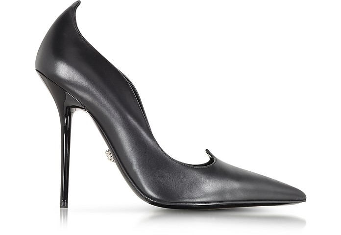 Curvy Black Leather Pump - Versace