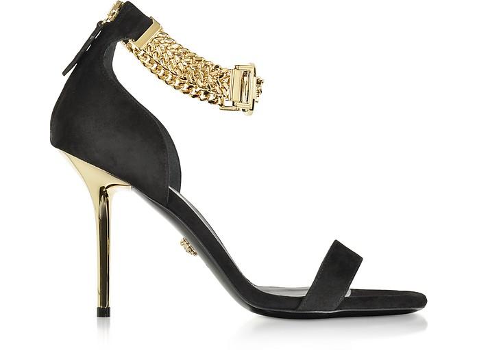 Versace Embellished Black Suede Ankle Strap Sandals 36 It