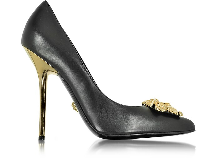 Palazzo Black Stiletto Heel Pumps - Versace