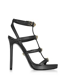 Black Leather Sandal w/Light Gold Medusa - Versace