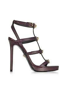 Burgundy Leather Sandal w/Light Gold Medusa - Versace