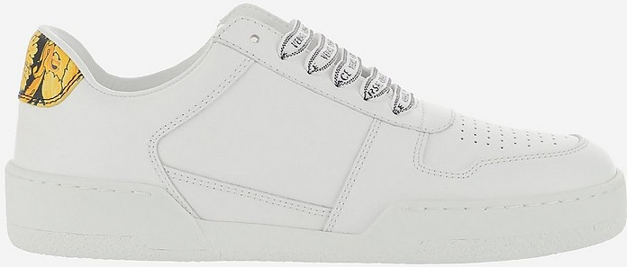White and Gold Leather Low Top Women's Sneakers - Versace