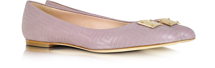 Mauve Leather Ballerina Shoe - Versace