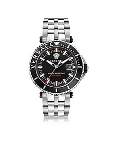 V-Race Diver Stainless Steel Men's Watch w/Black Dial - Versace