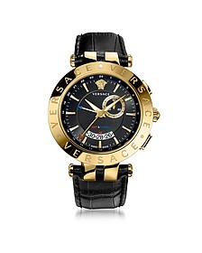 V-Race GMT Alarm Black and PVD Gold Plated Men's Watch - Versace
