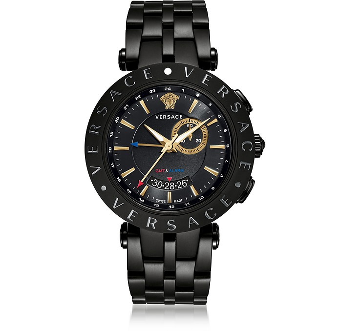 V-Race GMT Alarm Black Plated Men's Watch - Versace / ヴェルサーチ