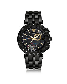 V-Race GMT Alarm Black Plated Men's Watch - Versace