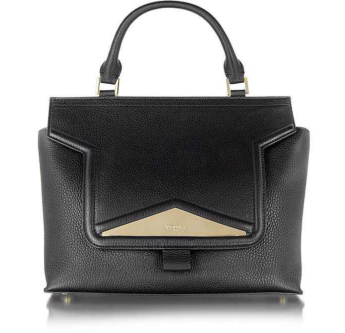 Mosaic 30 Black Leather and Ayers Medium Satchel Bag w/Shoulder Strap - Vionnet