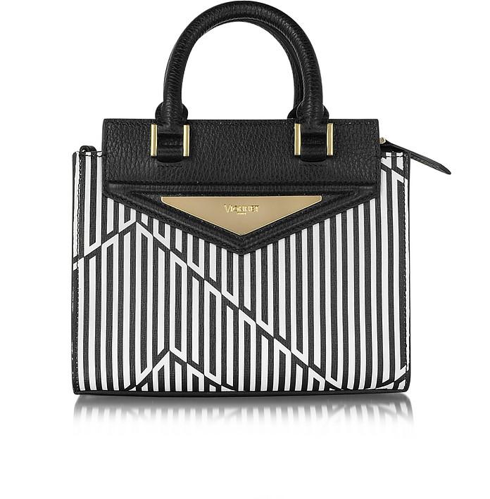 Shopping 20 Orchid White & Black Optical Print Leather Mini Tote Bag w/Shoulder Strap - Vionnet