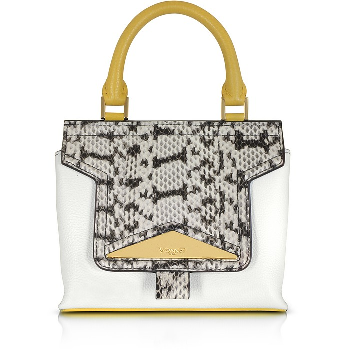 Mosaic 20 Multicolor Leather & Elaphe Mini Satchel Bag w/Shoulder Strap - Vionnet