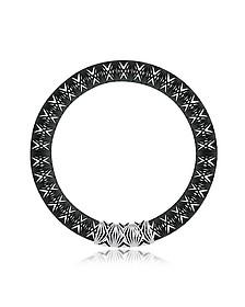 Umbala Black Chevron Flower Pendant Neckpiece