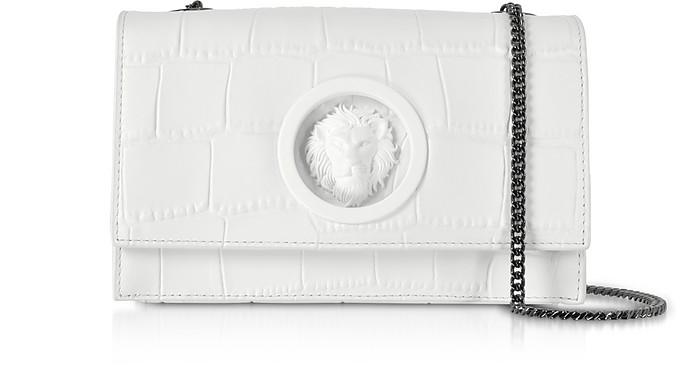 Lion Mock Croco-Embossed Leather Shoulder Bag - Versace Versus