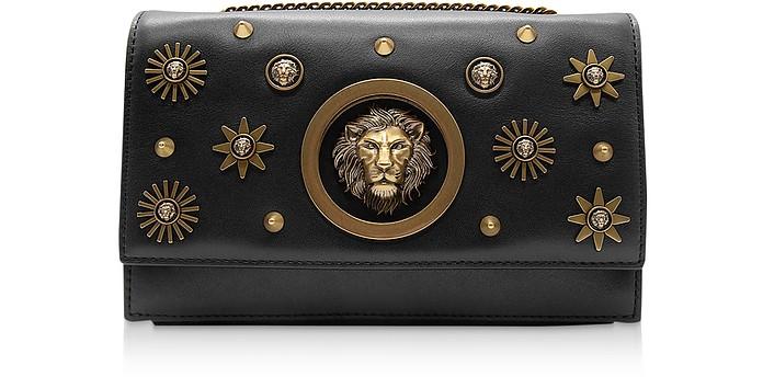 Black Leather Heritage Stud Shoulder Bag w/Antique Gold Lion and Stars - Versace Versus