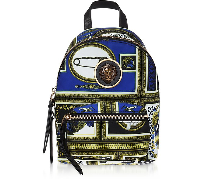 Heritage Border Printed Canvas and Leather Mini Lion Backpack - Versace Versus