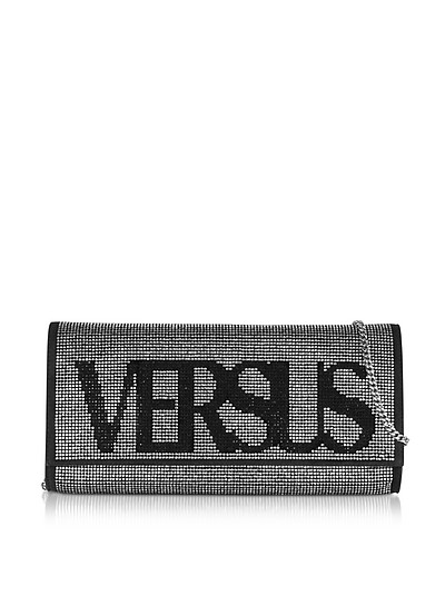 Vintage Logo Envelope Crystals and Suede Clutch - Versace Versus