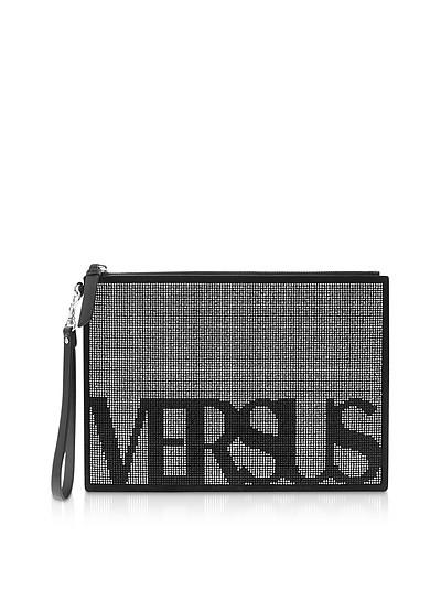 Signature Crystals and Suede Flat Clutch - Versace Versus